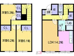 札幌市清田区平岡4条2丁目0テラスハウス間取図面