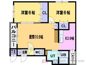 札幌市清田区北野7条3丁目1賃貸マンション間取図面