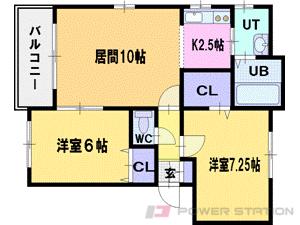 札幌市清田区真栄5条2丁目0賃貸マンション間取図面