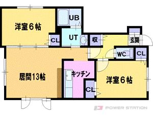 札幌市清田区美しが丘2条7丁目0賃貸アパート間取図面