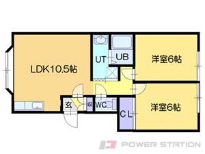 札幌市清田区里塚1条4丁目0賃貸アパート間取図面