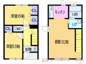 札幌市清田区北野4条5丁目0テラスハウス間取図面