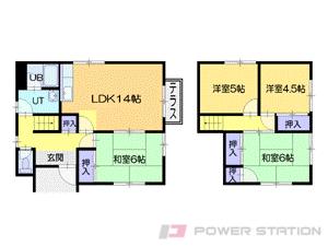 札幌市清田区清田4条3丁目1一戸建貸家間取図面