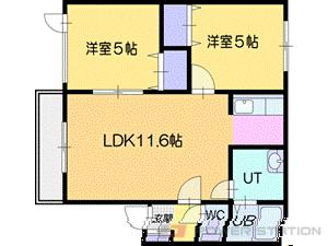 札幌市清田区美しが丘3条2丁目0賃貸アパート間取図面