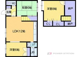 札幌市清田区清田8条3丁目1テラスハウス間取図面