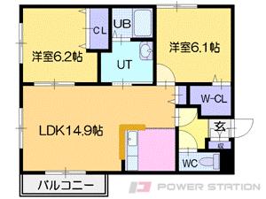 札幌市清田区平岡1条4丁目1賃貸マンション間取図面