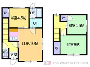 札幌市清田区清田6条3丁目1テラスハウス間取図面