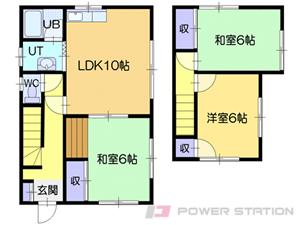 札幌市清田区清田8条2丁目1一戸建貸家間取図面