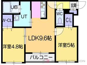 札幌市清田区清田1条3丁目1賃貸マンション間取図面
