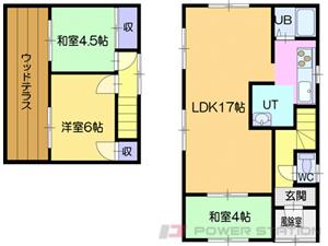 札幌市清田区平岡4条3丁目1一戸建貸家間取図面