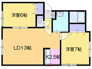 札幌市清田区里塚3条2丁目0賃貸アパート間取図面