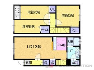 札幌市清田区真栄2条1丁目0テラスハウス間取図面