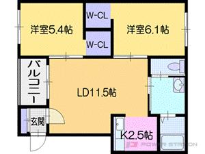 札幌市清田区真栄2条1丁目0賃貸アパート間取図面