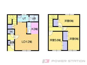 札幌市清田区清田1条2丁目11テラスハウス間取図面
