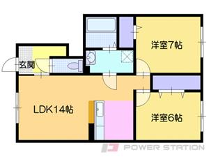 札幌市清田区平岡6条3丁目0賃貸アパート間取図面