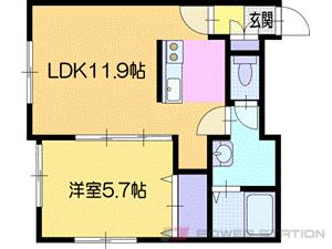 札幌市清田区里塚緑ヶ丘9丁目01賃貸アパート間取図面