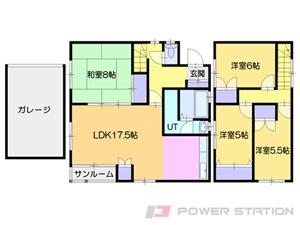 札幌市清田区里塚3条2丁目0一戸建貸家間取図面