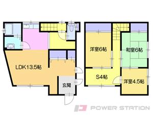 札幌市清田区清田2条2丁目1一戸建貸家間取図面