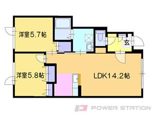 札幌市清田区里塚緑ヶ丘3丁目1賃貸アパート間取図面