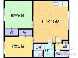 札幌市清田区平岡8条2丁目1賃貸アパート間取図面