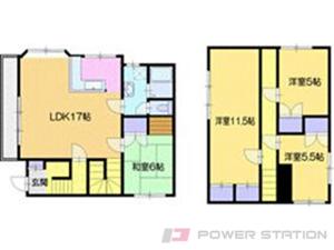 札幌市清田区北野2条1丁目0一戸建貸家間取図面