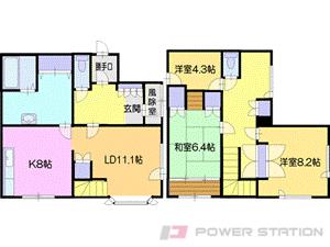 札幌市清田区里塚1条3丁目0一戸建貸家間取図面