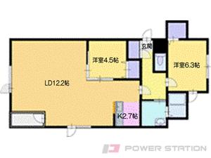札幌市清田区北野3条5丁目01賃貸アパート間取図面