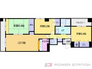札幌市清田区真栄4条2丁目0賃貸マンション間取図面
